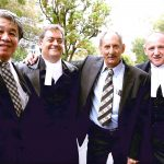 Tom Percy QC with solicitor, Frank Voon, Jon Davies and Darryl Beamish following judgment in Beamish v R [2005] WASCA 62